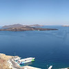 Santorini panorama with the ferry.