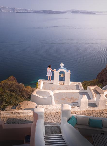 Cross at the edge!! - Oia, Santorini
