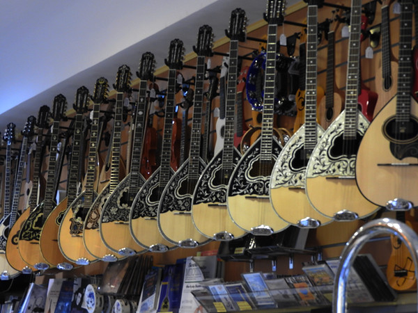 Bouzoukis in Music Shop