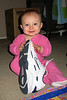 Daddy's shoe is almost as tall as Sarah!
