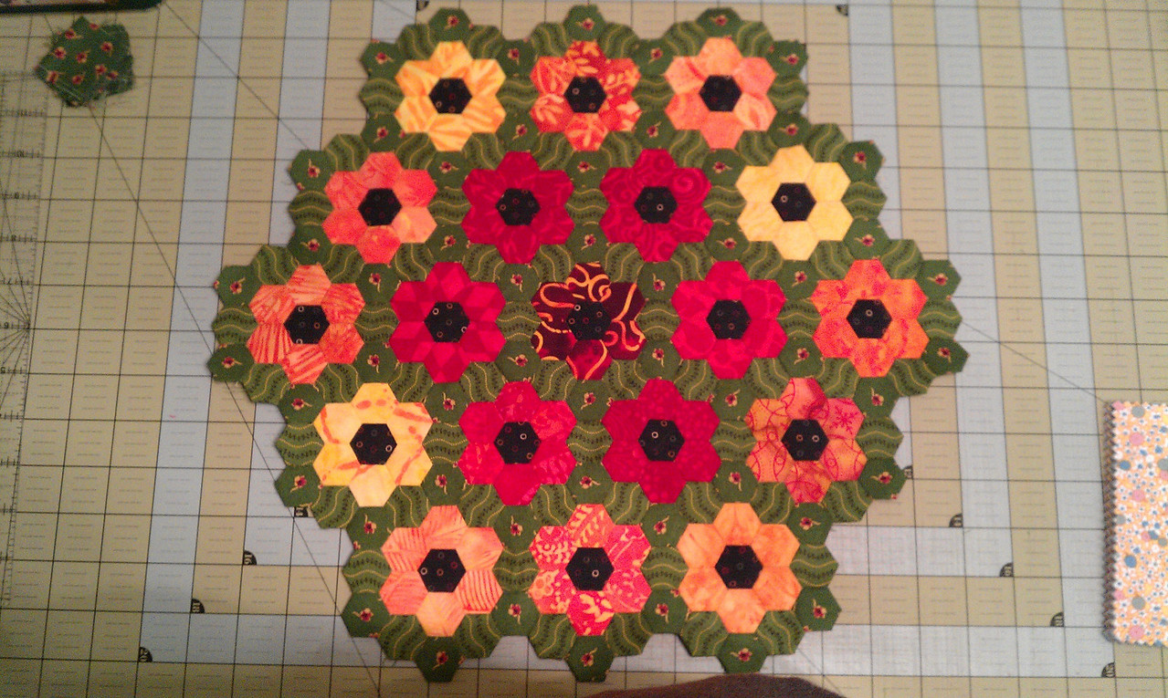 finished red hot quilt top
