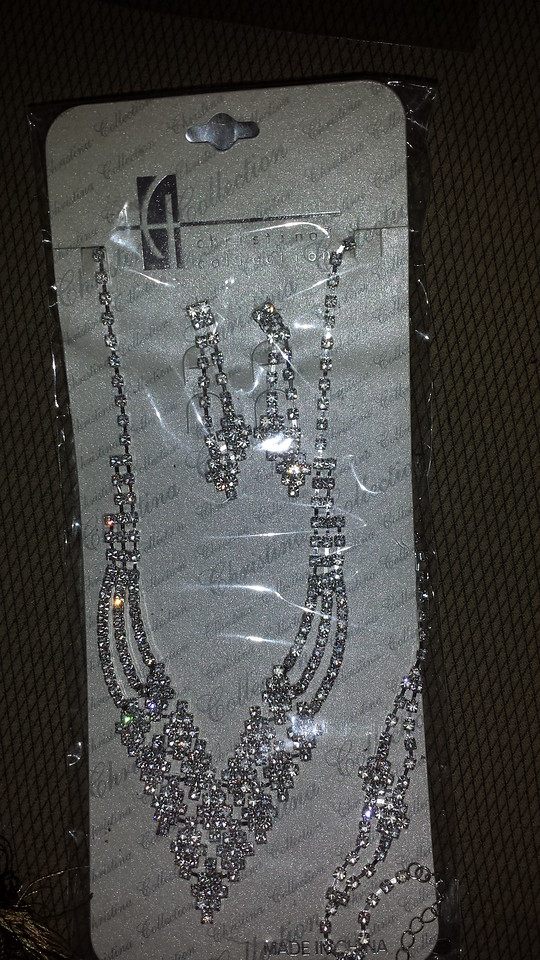 Crystal necklace , bracelets and earrings $20