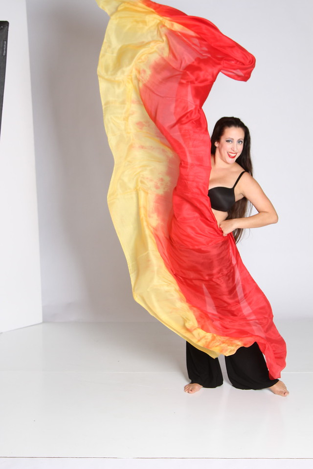 3.5 yard long veil $65 red/yellow-001
