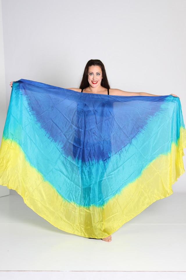 A pair of 1/2 circle veils - 5mm-  $120 - Blue/turq/yellow  013