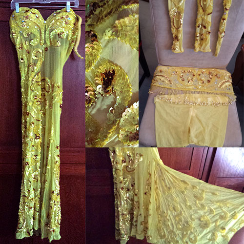 YELLOW PHARONICS OF EGYPT DRESS COSTUME