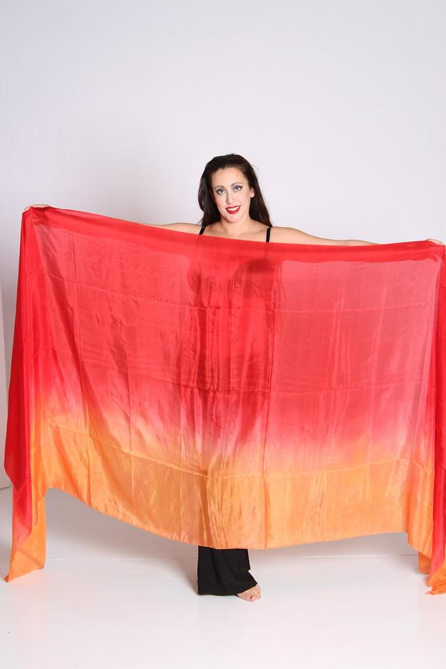 3.5 yard long veil $65 - red/orange-008
