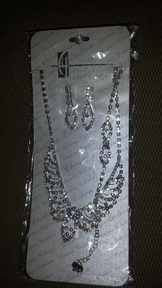 Crystal necklace and earrings $20