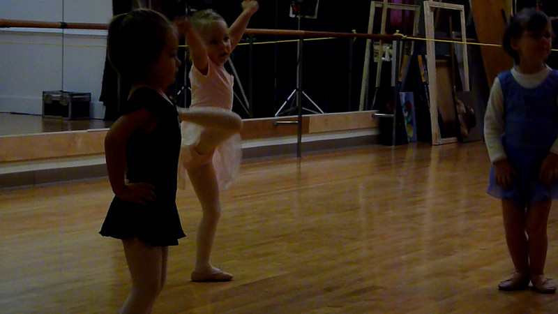 Eve getting a little too into demi-plies at her first ballet lesson.<br /> 9/9/10
