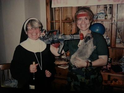 Susan & Emma Fenn, Nev's birthday party 1996.