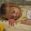 Asleep at the dinner table