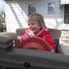 Playing with her early birthday present from Grandma, Grandpa, and Dorothy<br /> April 8, 2009