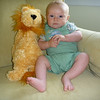 Graham posing with his lion at 3 1/3 months.  <br /> 6/16/2010