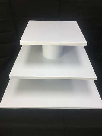 """3 Tier Square Cupcake Stand with 18"""" bottom and 10"""" Top.  Holds up to a two tier cake and 42 Cupcakes. Rental $25"""