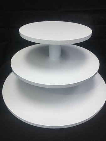 """3 tier Cupcake Tower White with 18"""" Bottom and 10"""" Top Holds 6"""" cake and 36 Cupcakes. Rental $20"""