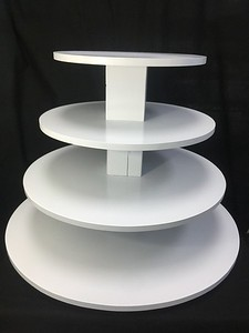 """4 tier Cupcake Tower White with 26"""" Bottom and 10"""" Top Holds 8"""" cake and 85+ Cupcakes. Rental $30"""