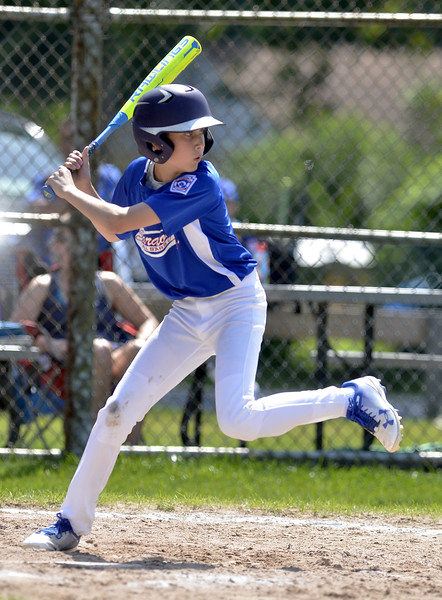 STAN HUDY - SHUDY@DIGITALFIRSTMEDIA.COM<br /> Saratoga Springs Little League hitter Matt Sgambati loads up on a pitch against Mechanicville-Stillwater in Saturday morning's District 11/12 10-11-12 contest at Mechanicville.
