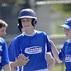 STAN HUDY - SHUDY@DIGITALFIRSTMEDIA.COM<br /> Saratoga Little League slugger Matt Sgambati is congratulated after hitting a solo home run in the fifth inning Saturday morning at Mechanicville-Stillwater Little League.