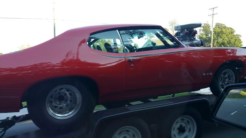 1969 GTO  being trailered on Rt 301 Richmond Va
