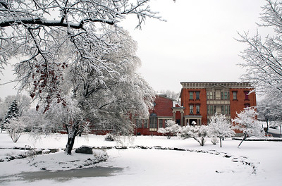 Canfield Casino red stands out in the white of winter