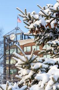 A clock & a flag in winter