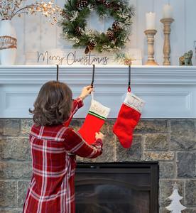 Hanging stockings on Christmas Eve
