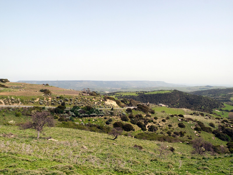 Hills near Ales, Miocene sediments, Giara di Gesturi basalt (Pliocene) plateau in the distance, Sardegna, Italy<br /> <br /> Olympus E-600 & Zuiko 12-60mm/2.8-4.0