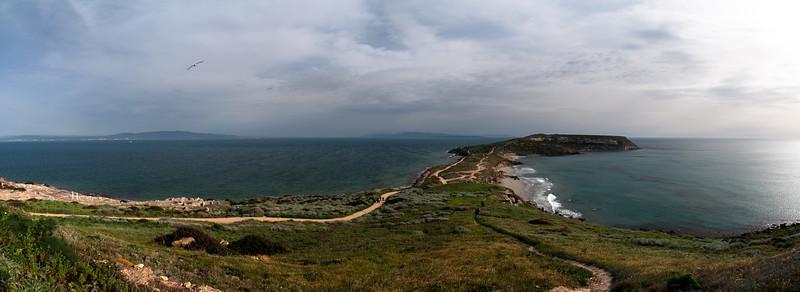 Capo San Marco, Sini Peninsula, southernmost tip near Tharros, western Sardinia, looking South<br /> 4 image stitch, Olympus E-420 & Zuiko 12-60mm/2.8-4.0