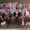 "06.07.11 - Sedilo, Sardinia, Italy: Ardia Festival. The Ardia is one of the most important traditional events of Sardinia, a ritual horse race which envolve over 100 brave horsemen every year on 6 and 7 of july in honour of St. Constantine - (ITA) Sedilo: l'Ardia di San Costantino, sfrenata corsa a cavallo fatta in onore di San Costantino, che si svolge ogni anno a Sedilo il 6 e il 7 luglio e ricorda la battaglia di Ponte Milvio tra Costantino e Massenzio. Le pandele a ""sa muredda"""
