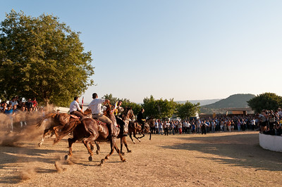 Sedilo, Italy - 06.07.2012. Ardia di San Costantino horse race. Photo: a moment of the race.