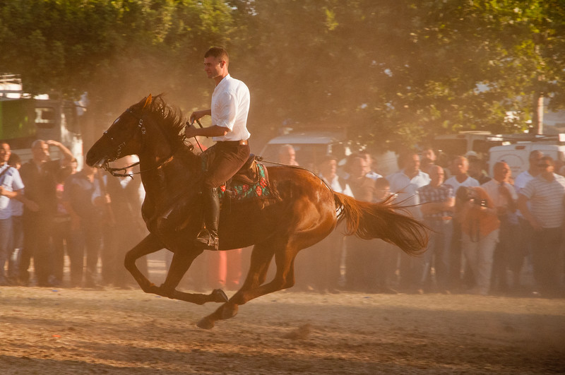 Sedilo, Italy - 06.07.2012. Ardia di San Costantino horse race.  A knight during the race.