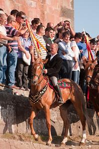 06.07.11 - Sedilo, Sardinia, Italy: Ardia Festival. The Ardia is one of the most important traditional events of Sardinia, a ritual horse race which envolve over 100 brave horsemen every year on 6 and 7 of july in honour of St. Constantine - (ITA) Sedilo: l'Ardia di San Costantino, sfrenata corsa a cavallo fatta in onore di San Costantino, che si svolge ogni anno a Sedilo il 6 e il 7 luglio. Il capocorsa riceve la benedizione davanti al Santuario di San Costantino.