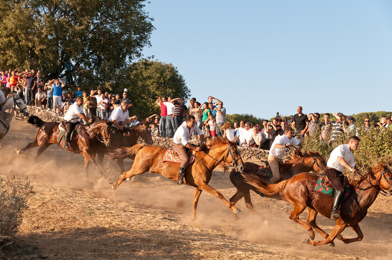Sedilo, Italy - 06.07.2012. Ardia di San Costantino horse race. Knights at the start of the race.