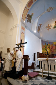 Rituals of  the Holy Week in Sardinia (Italy): the Good Friday in Aggius. The ceremonies of the procession and the deposition of the cross.