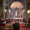 Olbia, 15.05.2012. Festa di San Simplicio. Un uomo raccolto in preghiera all'interno della Basilica di San Simplicio, prima dell'inizio della Messa Solenne.
