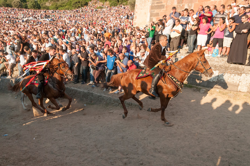 The leaders of the race riding during the final moments during the Ardia di Sedilo festival.