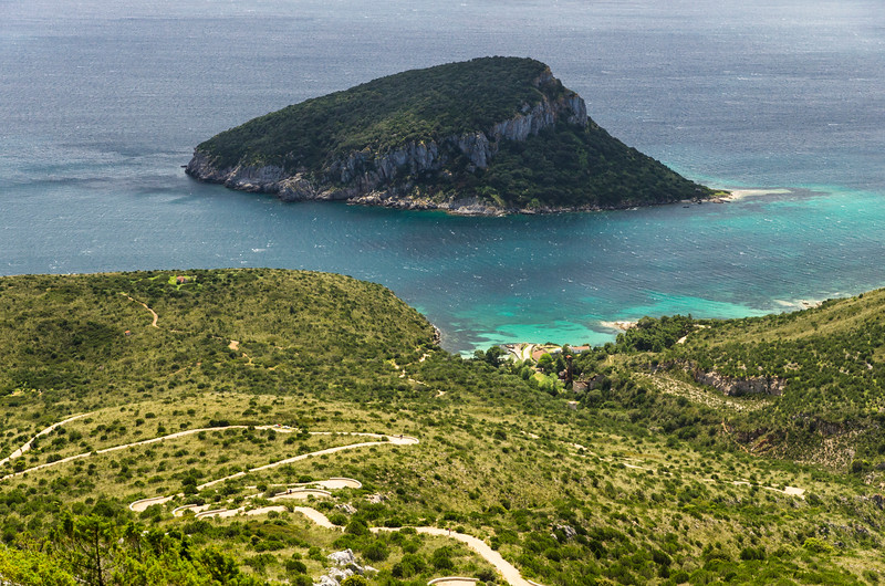 Panoramic view of Capo Figari and Figarolo island.