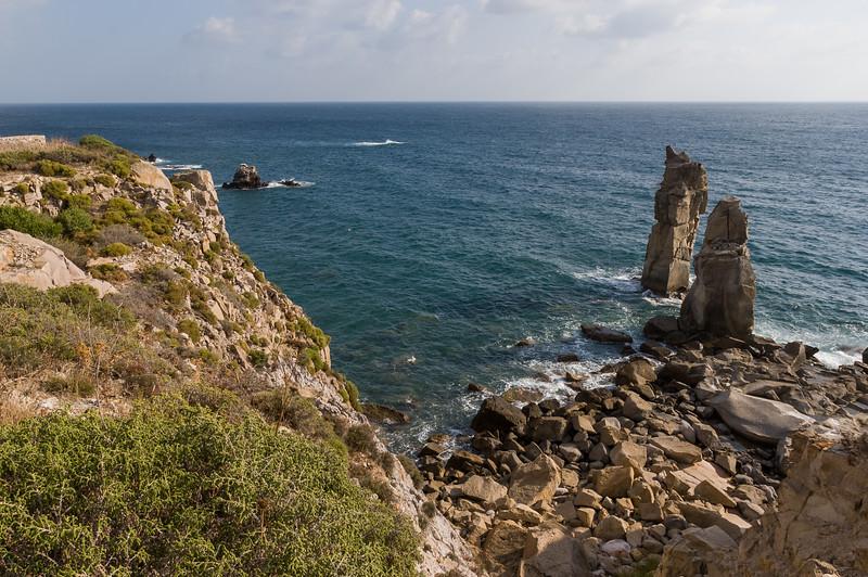 "San Pietro island, the natual monument called ""Le Colonne"" (the columns)."