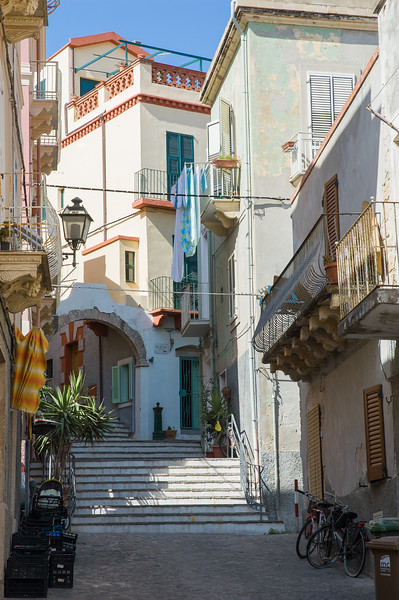 City of Carloforte, San Pietro Island, situated on the south-western coast of Sardinia. Carloforte: caratteristiche vie del centro in stile ligure