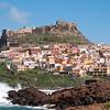 Sardinia, Italy: view of Castelsardo  during a windy day /Castelsardo: veduta della città sferzata dal vento di maestrale