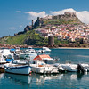 Sardinia, Italy: Castelsardo, panorama of the city and the harbour.