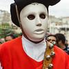 Oliena (NU), Italy, 15.09.2013. Cortes Apertas. Sfilata delle maschere tradizionali del carnavale sardo: i Mamuthones e gli issohadores di Mamoiada. Nella foto: un Issohadore.