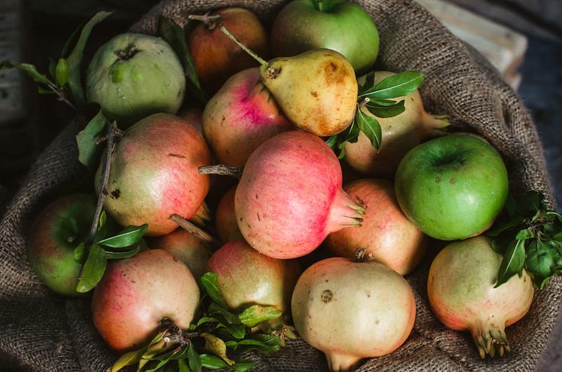 Oliena (NU), Italy, 15.09.2013. Cortes Apertas. Frutta di stagione: melograni, mele e pere selvatiche.