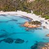 Sardinia, Italy. Aerial view of Costa Smeralda. Spiaggia del Principe (Prince beach).