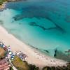 Sardinia, Italy. Aerial view of Costa Smeralda. Porto Rotondo: spiaggia Ira (Ira beach).