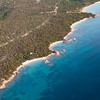 Sardinia, Italy. Aerial view of Costa Smeralda. little beaches.