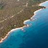 Sardinia, Italy. Aerial view of Costa Smeralda. little beaches.