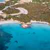 Sardinia, Italy. Aerial view of Costa Smeralda. Capriccioli beaches.