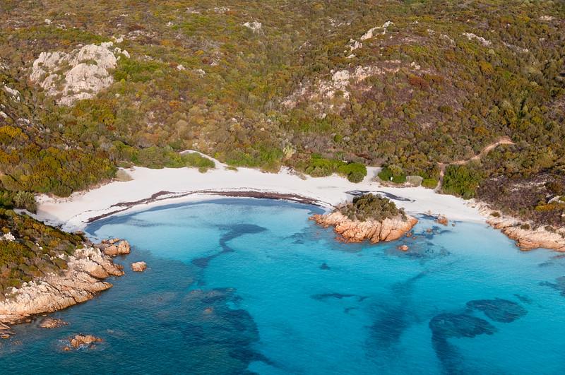 Sardinia, Italy. Aerial view of Costa Smeralda. Spiaggia del Principe.