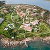 Sardinia, Italy. Aerial view of Costa Smeralda. Porto Rotondo, Punta Nuraghe.