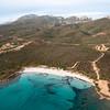 Sardinia, Italy. Aerial view of Costa Smeralda. La Rena Bianca beach.